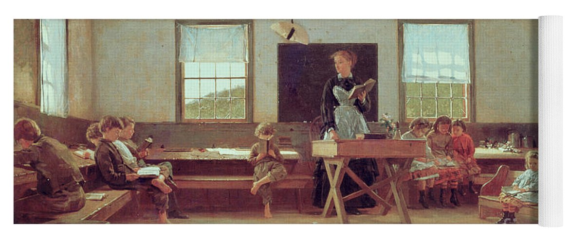 The Country School Yoga Mat featuring the painting The Country School by Winslow Homer