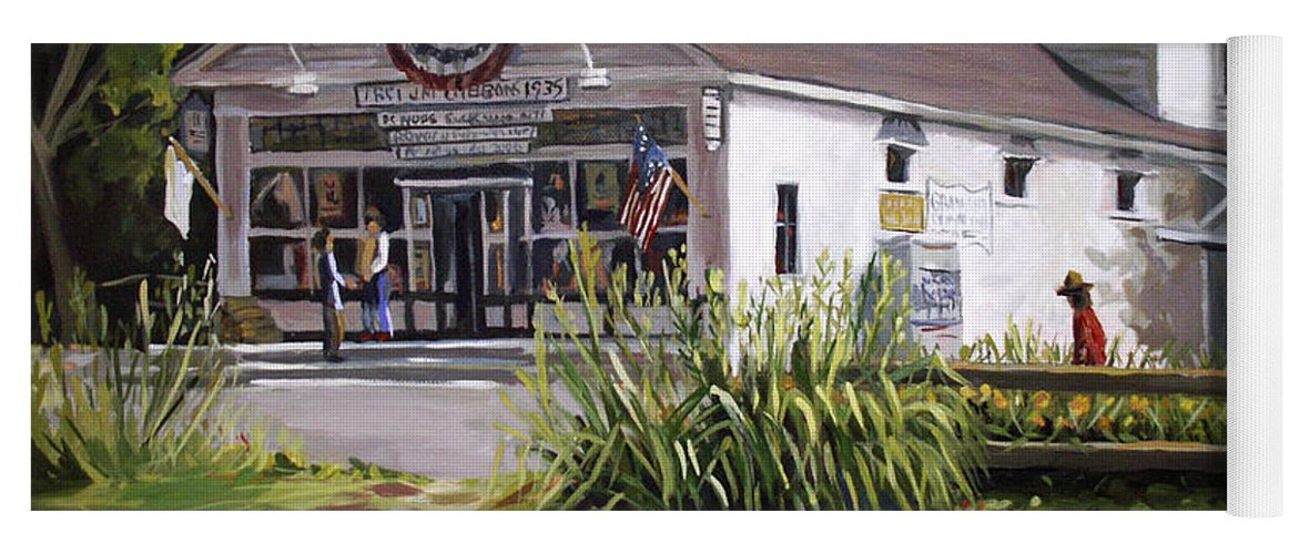 Buildings Yoga Mat featuring the painting The Country Store by Nancy Griswold