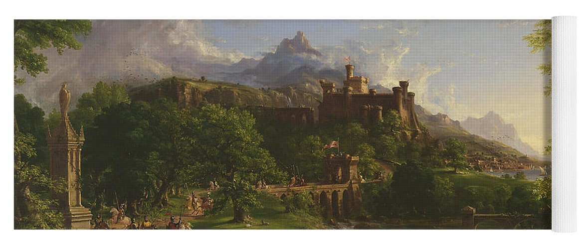 Landscape Yoga Mat featuring the painting The Departure by Thomas Cole