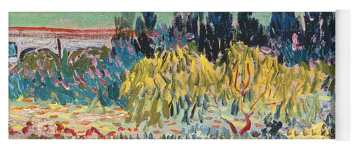 Gentil Garden In Bloom Yoga Mat Featuring The Painting The Garden At Arles By  Vincent Van Gogh