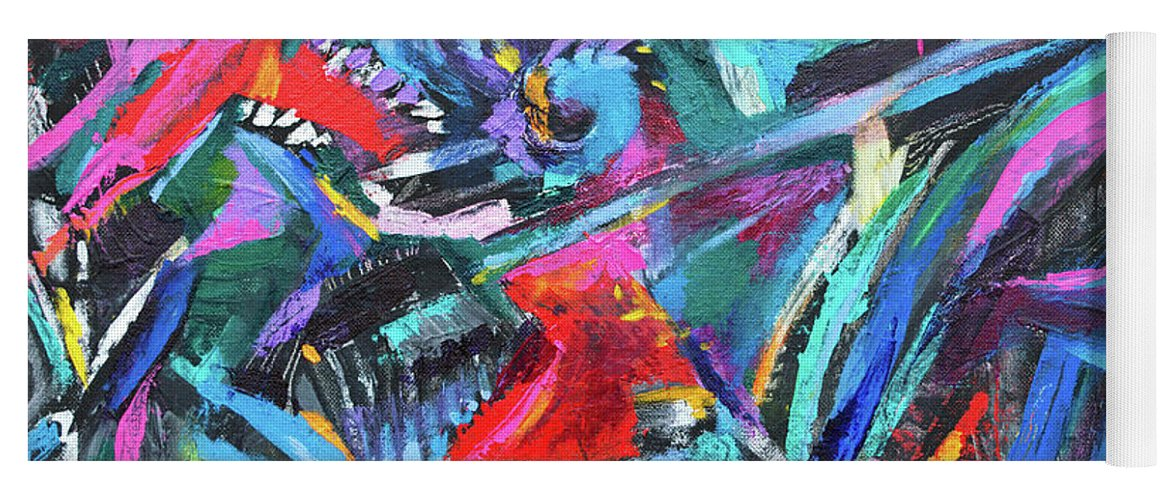 Bold Strokes And Intense Texture.vibrant Colors And Black Accents .contemporary Modern Abstract Expressionist Painting  Yoga Mat featuring the painting The green dragons Tail by Priscilla Batzell Expressionist Art Studio Gallery