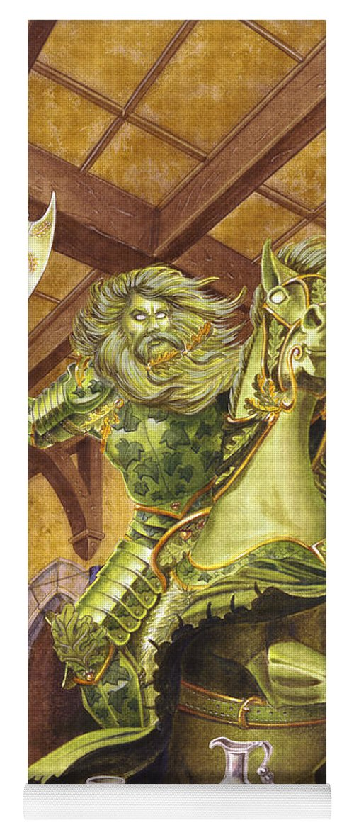 Fine Art Yoga Mat featuring the painting The Green Knight by Melissa A Benson