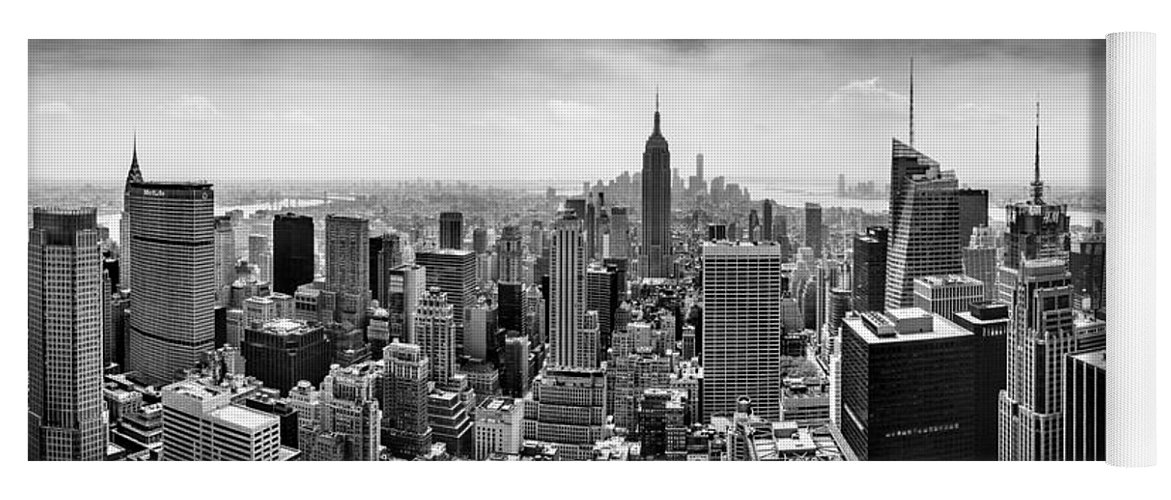 Empire State Building Yoga Mat featuring the photograph New York City Skyline BW by Az Jackson