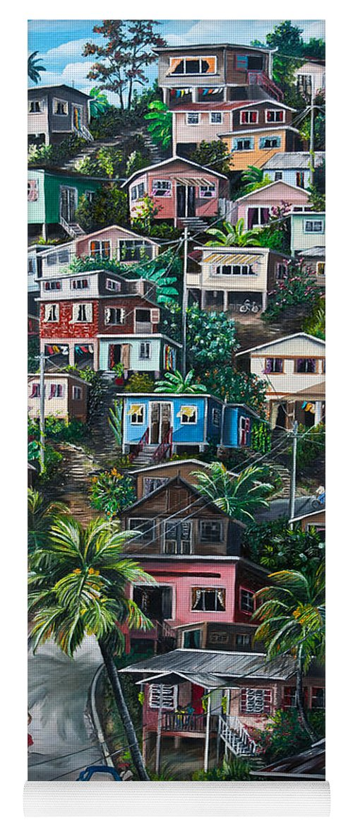 Landscape Painting Cityscape Painting Houses Painting Hill Painting Lavantille Port Of Spain Painting Trinidad And Tobago Painting Caribbean Painting Tropical Painting Caribbean Painting Original Painting Greeting Card Painting Yoga Mat featuring the painting THE HILL   Trinidad by Karin Dawn Kelshall- Best