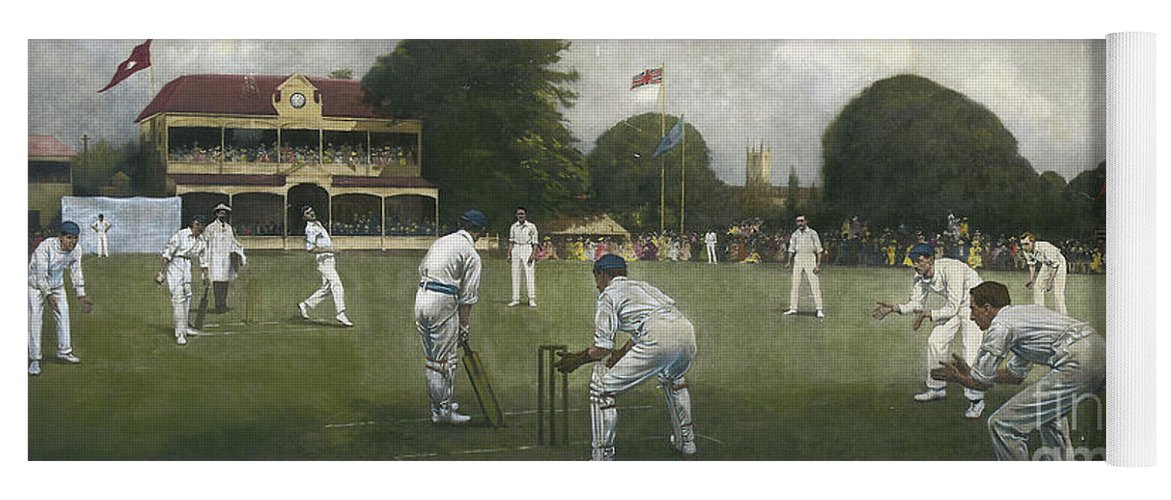 Cricket Yoga Mat featuring the painting The Kent Eleven Champions, 1906 by Albert Chevallier Tayler