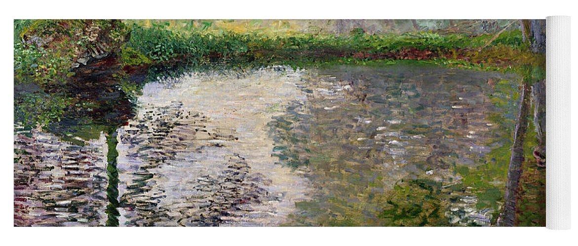 The Lake At Montgeron By Claude Monet (1840-1926) Yoga Mat featuring the painting The Lake at Montgeron by Claude Monet