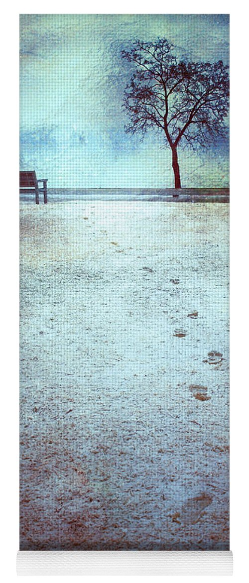 Bench Yoga Mat featuring the photograph The Last Snowfall by Tara Turner