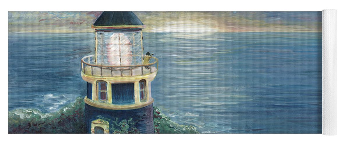 Lighthouse Yoga Mat featuring the painting The Lighthouse by Nadine Rippelmeyer
