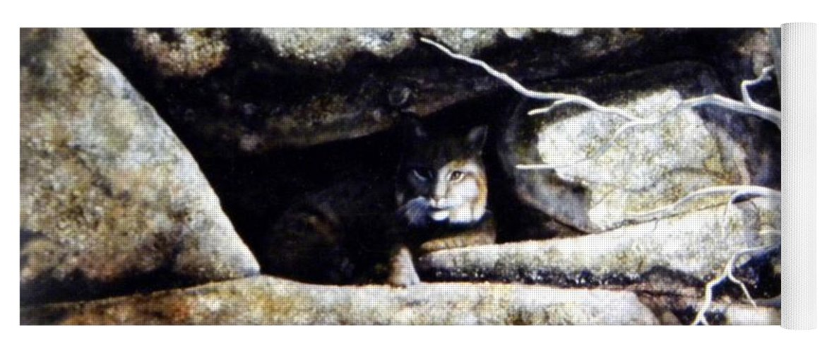 Wildlife Yoga Mat featuring the painting The Lookout Lynx by Frank Wilson
