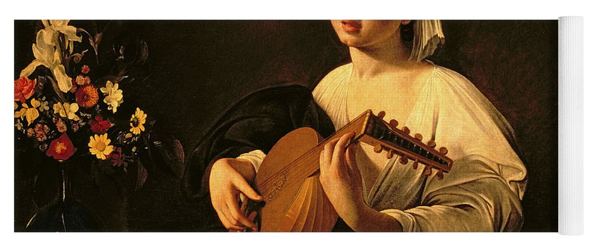 The Lute Player Yoga Mat featuring the painting The Lute Player by Michelangelo Merisi da Caravaggio