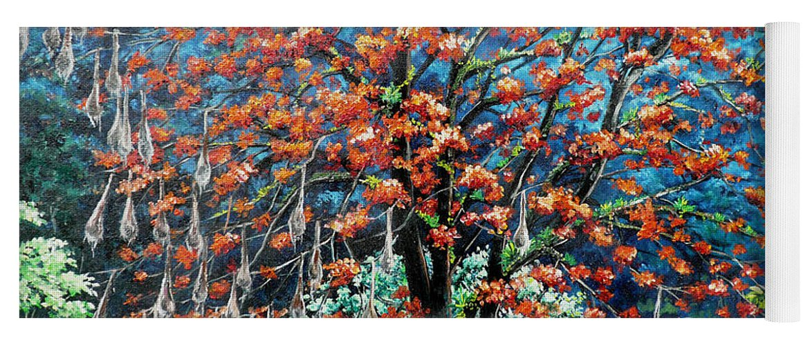Tree Painting Mountain Painting Floral Painting Caribbean Painting Original Painting Of Immortelle Tree Painting  With Nesting Corn Oropendula Birds Painting In Northern Mountains Of Trinidad And Tobago Painting Yoga Mat featuring the painting The Mighty Immortelle by Karin Dawn Kelshall- Best