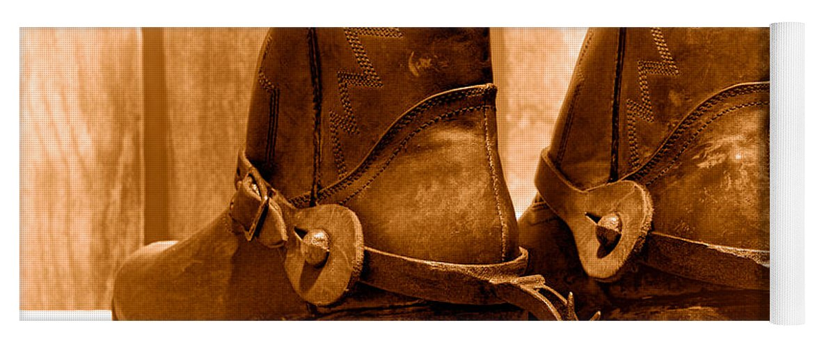 Cowboy Yoga Mat featuring the photograph The Muddy Boots - Sepia by Olivier  Le Queinec 8fb65c1cd810