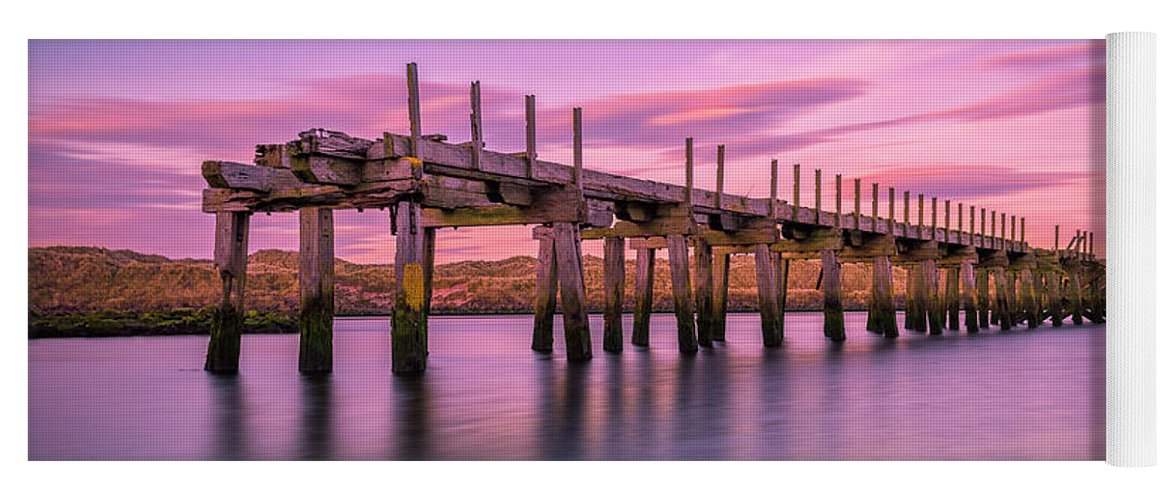 Old Bridge Yoga Mat featuring the photograph The Old Bridge at Sunset by Roy McPeak