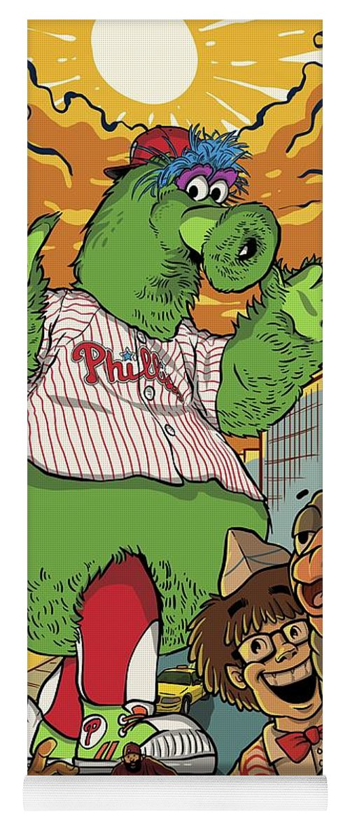 Philly Yoga Mat featuring the drawing The Pherocious Phanatic by Miggs The Artist