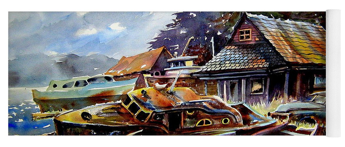Boats Yoga Mat featuring the painting The Preserve Of Captain Flood by Ron Morrison