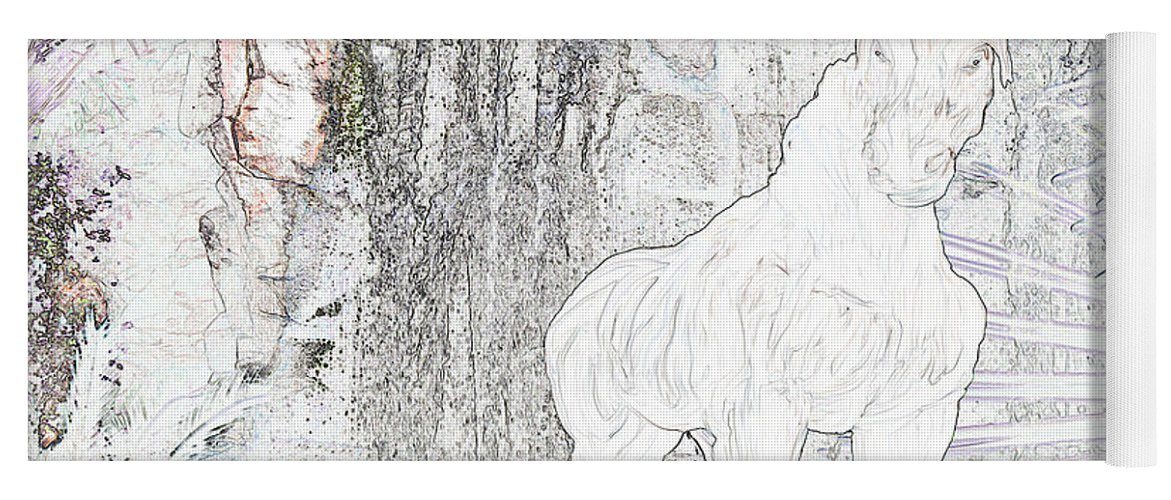 Waterfall Horse Horses Stallion Jungle Forest Scenery Trees Fantasy Yoga Mat featuring the photograph The Protector by Andrea Lawrence