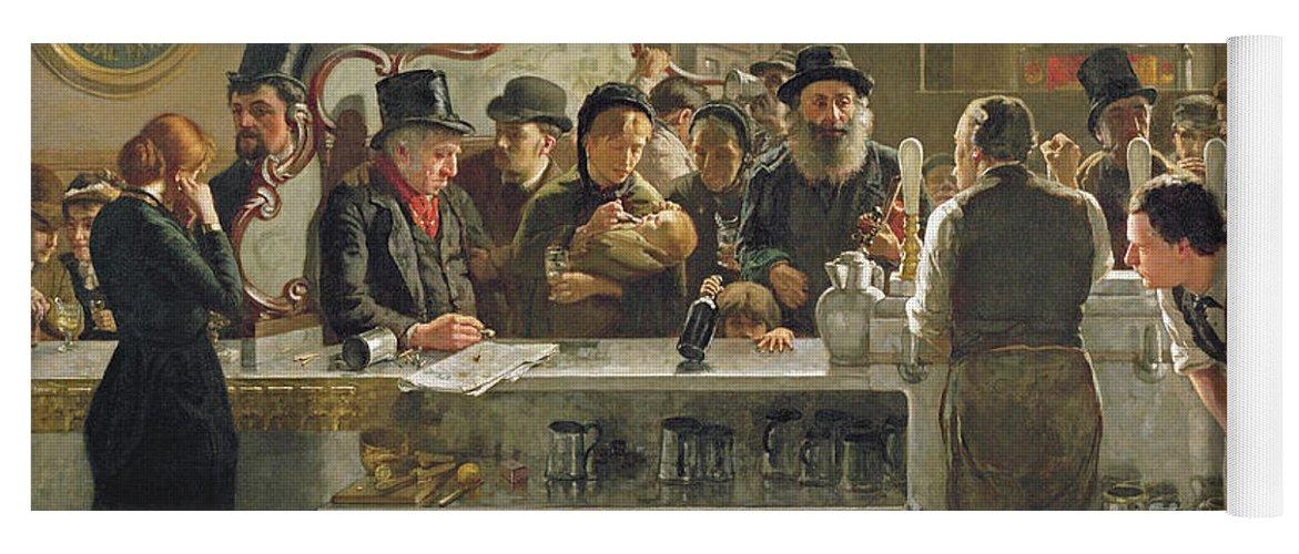 Drinking;drink;social;pub;landlord;barman;barmen Yoga Mat featuring the painting The Public Bar by John Henry Henshall