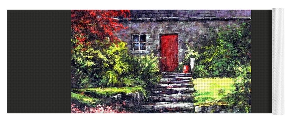 Ireland Yoga Mat featuring the painting The Red Door by Jim Gola
