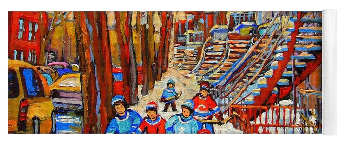 Yoga Mat featuring the painting The Red Staircase Painting By Montreal Streetscene Artist Carole Spandau by Carole Spandau
