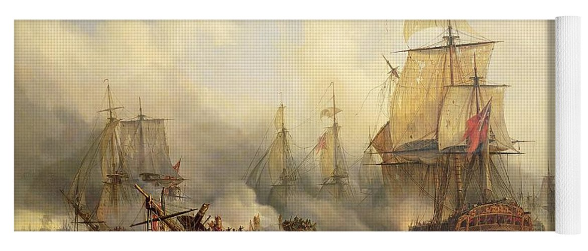 The Yoga Mat featuring the painting Unknown Title Sea Battle by Auguste Etienne Francois Mayer