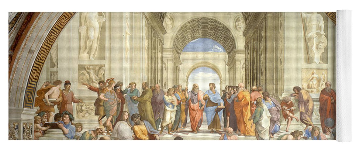 Science Yoga Mat featuring the photograph The School Of Athens, Raphael by Science Source