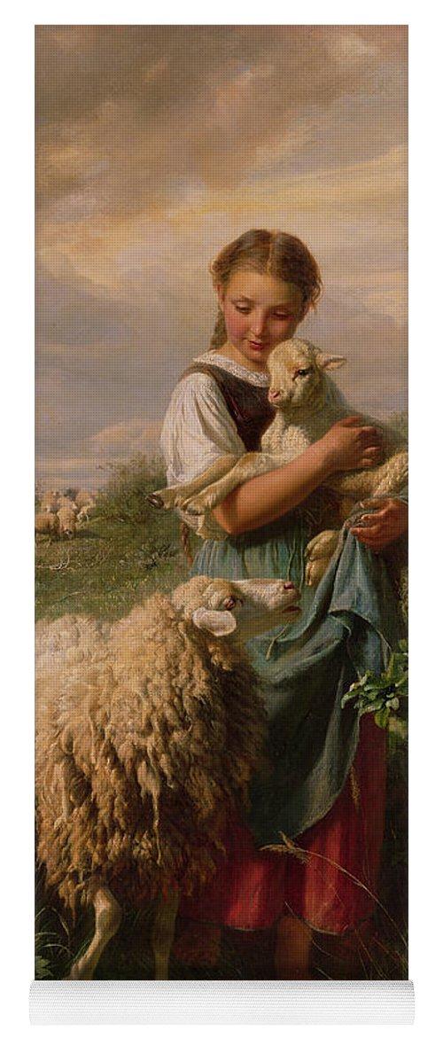 Shepherdess Yoga Mat featuring the painting The Shepherdess by Johann Baptist Hofner
