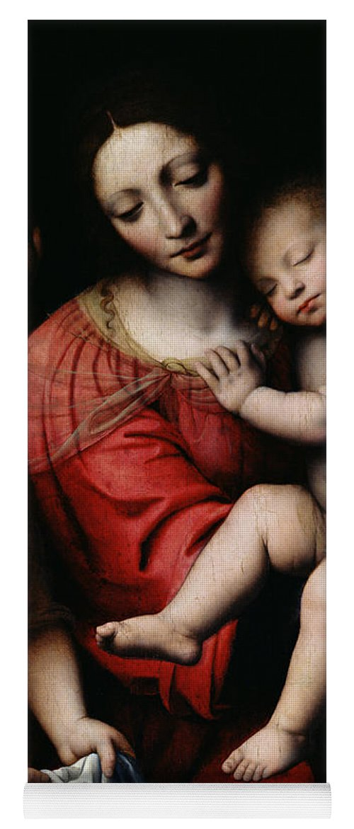 The Sleeping Christ Yoga Mat featuring the painting The Sleeping Christ by Bernardino Luini