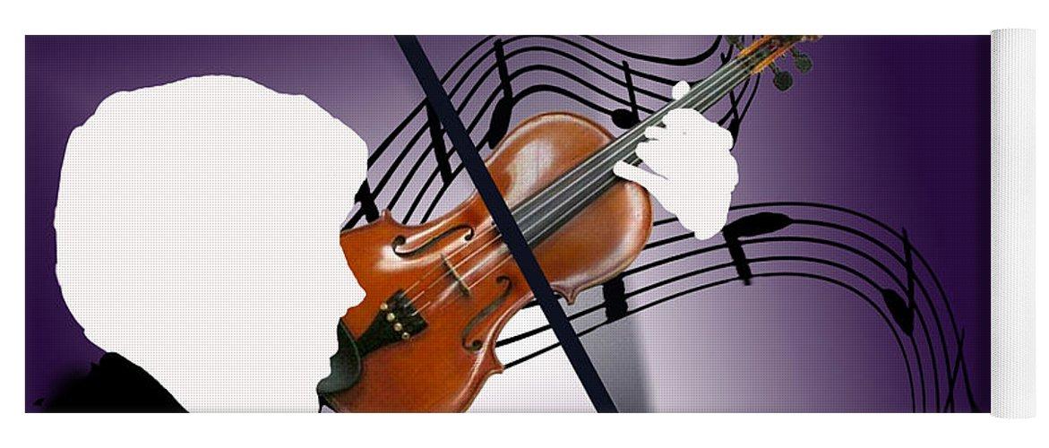 Violin Yoga Mat featuring the digital art The Soloist by Steve Karol