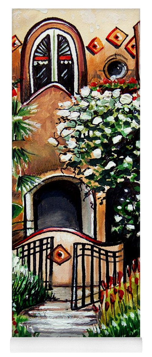 Gardens Yoga Mat featuring the painting The Spanish Gardens by Elizabeth Robinette Tyndall