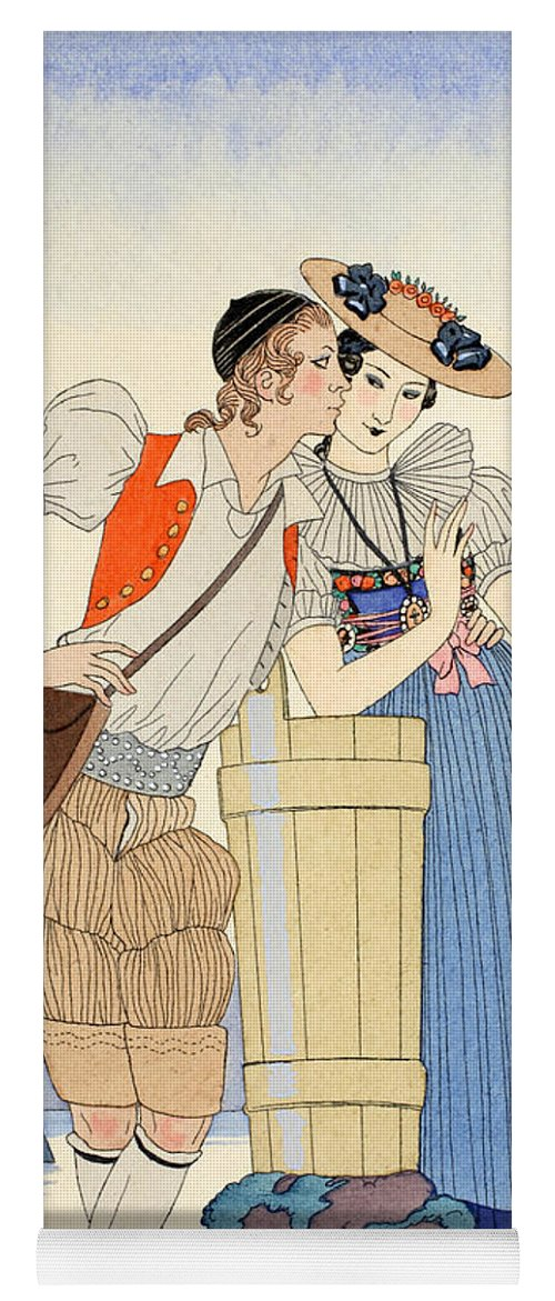 Barbier Yoga Mat featuring the painting The Stolen Kiss by Georges Barbier