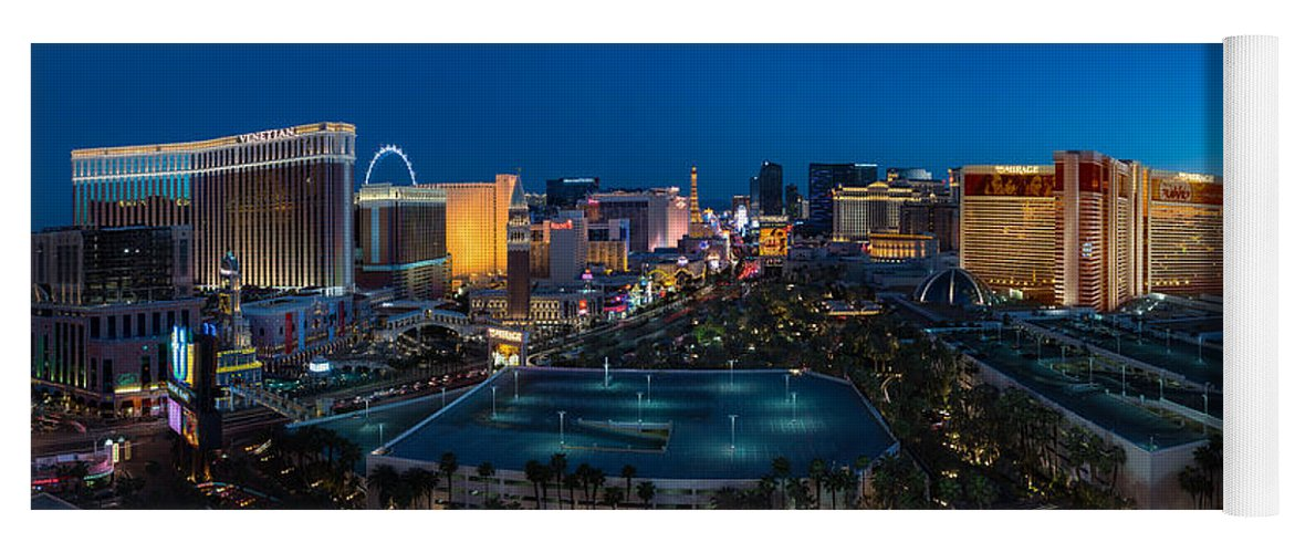 The Yoga Mat featuring the photograph The Strip Las Vegas by Steve Gadomski