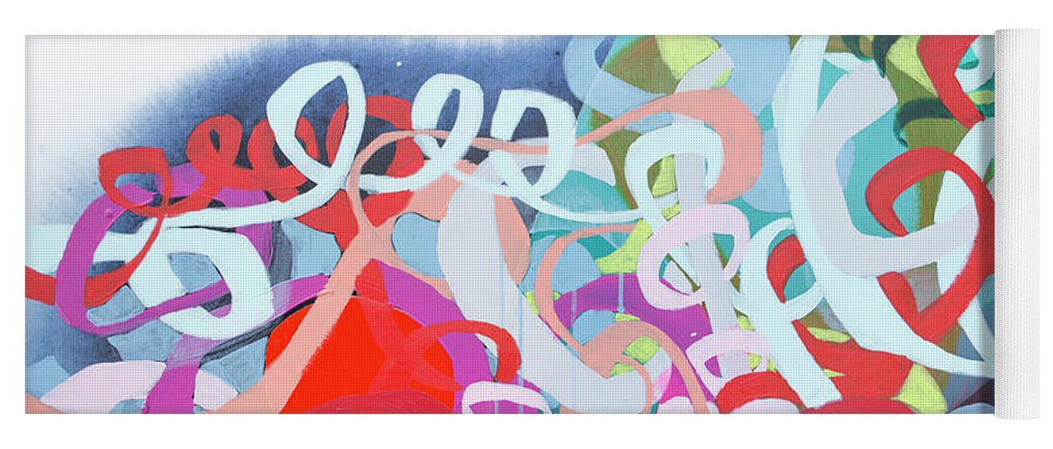 Abstract Yoga Mat featuring the painting The Thrill Of It All by Claire Desjardins