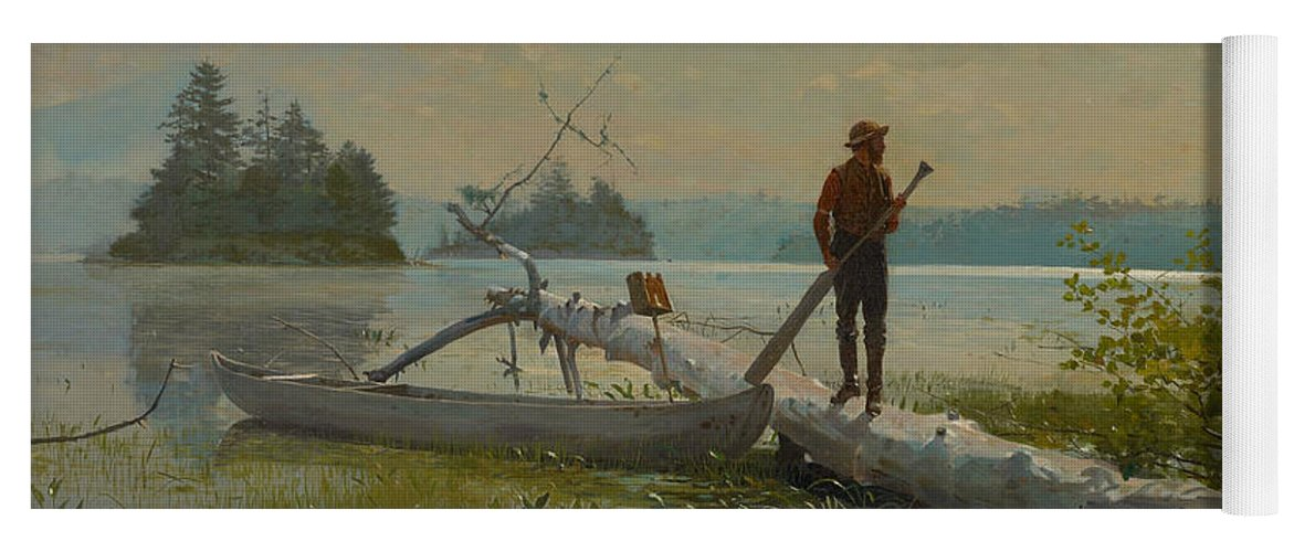 Winslow Homer Yoga Mat featuring the painting The Trapper by Winslow Homer