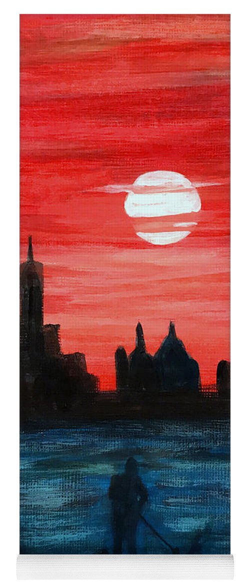Sunset Yoga Mat featuring the painting The View by Wonju Hulse