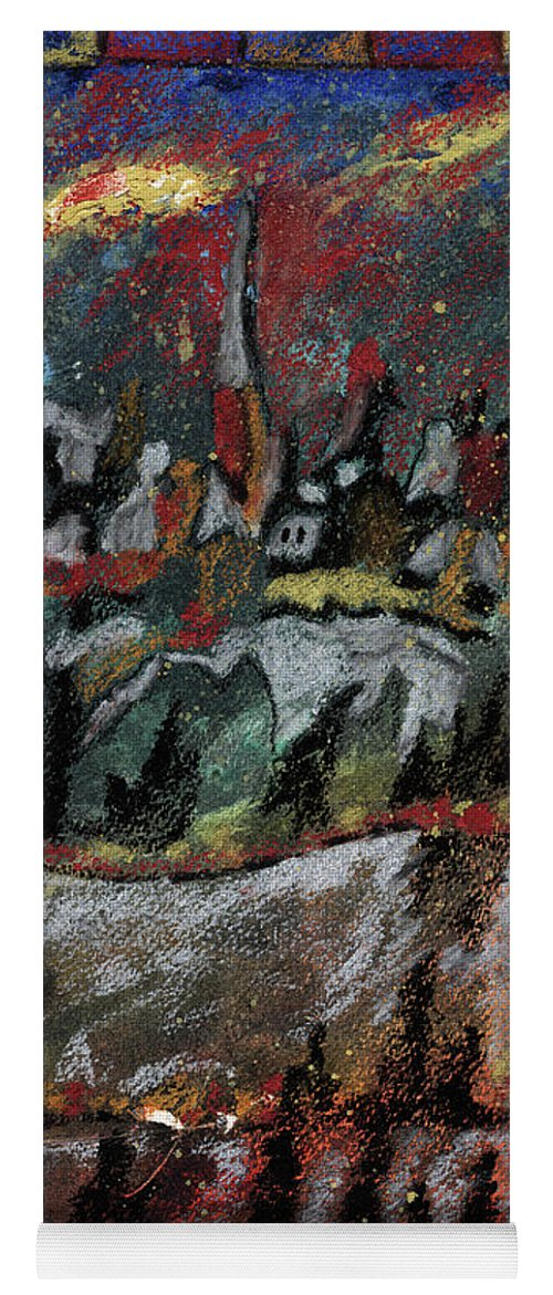 Abstract Yoga Mat featuring the painting The Village On A Hill by Callan Art