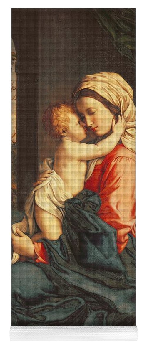 The Yoga Mat featuring the painting The Virgin And Child Embracing by Giovanni Battista Salvi