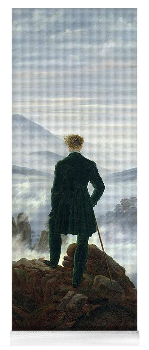 The Yoga Mat featuring the painting The Wanderer Above The Sea Of Fog by Caspar David Friedrich