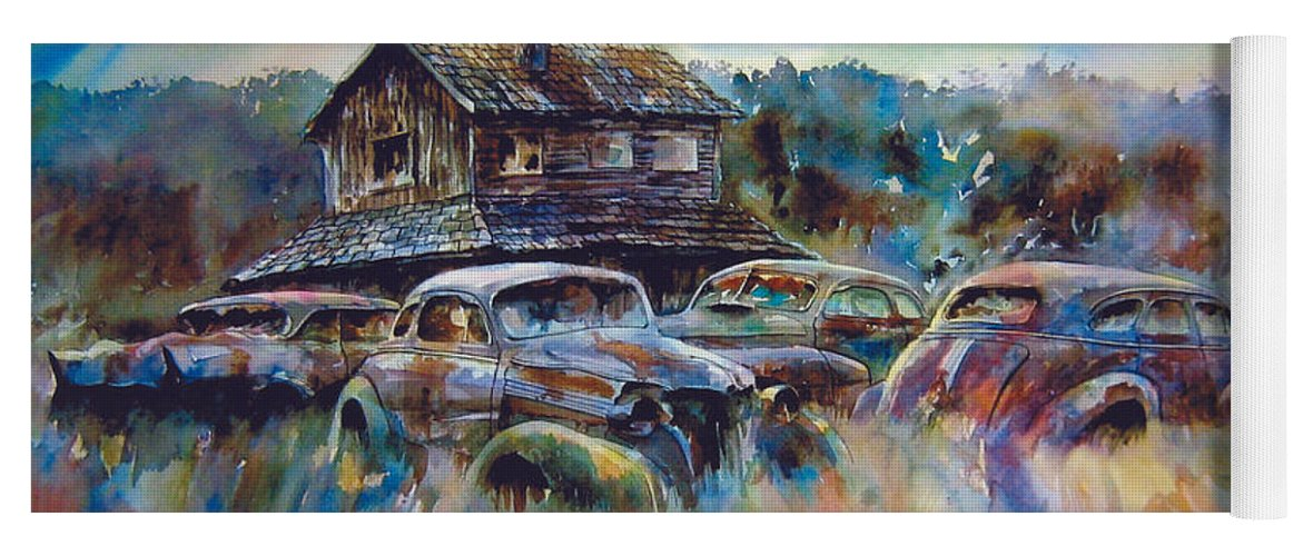 Old Rusty Dilapidated Cars House Yoga Mat featuring the painting The Wide Spread by Ron Morrison