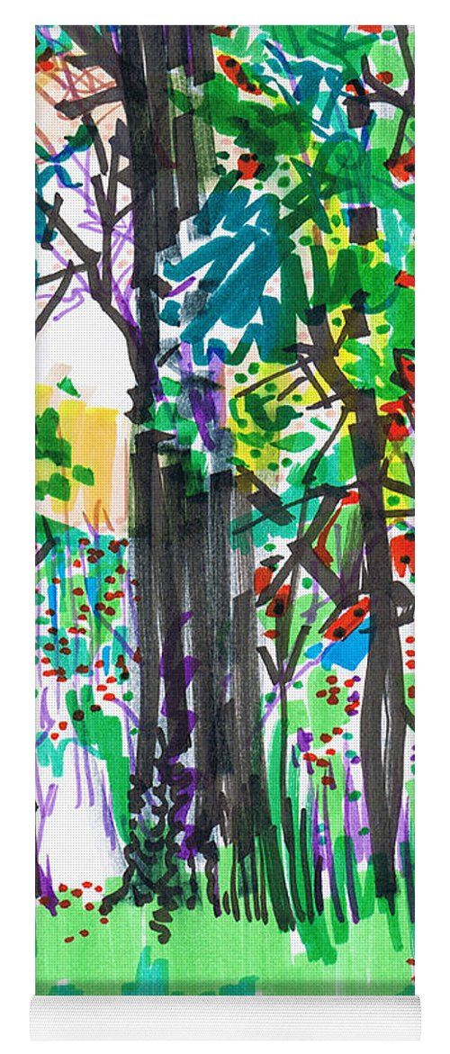 Forest Yoga Mat featuring the drawing Thicket by Seth Weaver