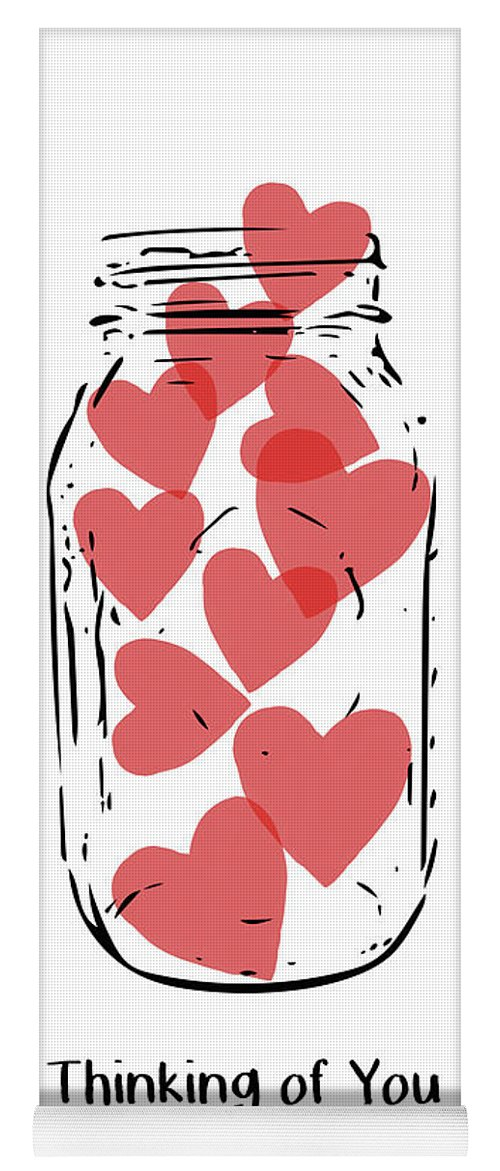 Hearts Yoga Mat featuring the mixed media Thinking Of You Jar Of Hearts- Art By Linda Woods by Linda Woods