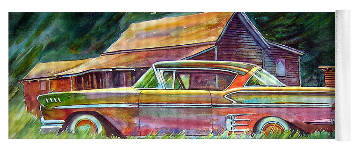Rusty Car Chev Impala Yoga Mat featuring the painting This Impala Doesn by Ron Morrison