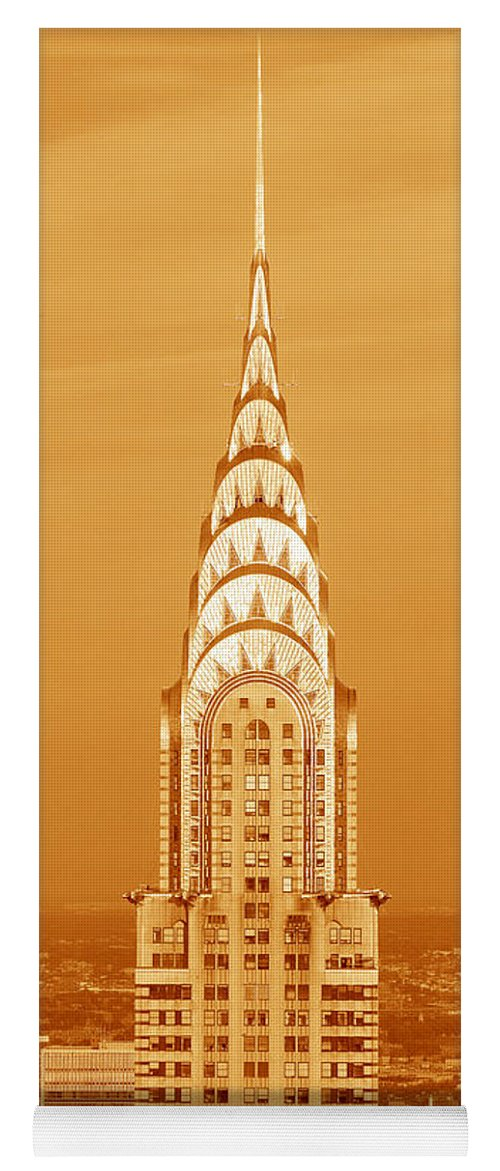 Photography Yoga Mat featuring the photograph Chrysler Building At Sunset by Panoramic Images