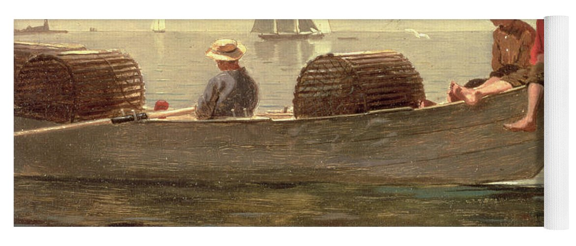 Boat Yoga Mat featuring the painting Three Boys In A Dory by Winslow Homer