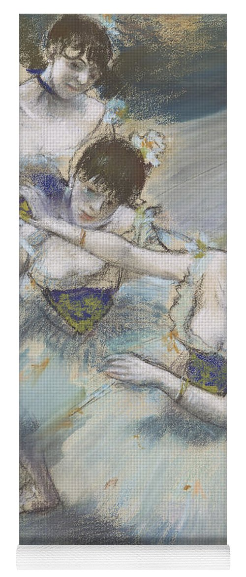 Edgar Degas Yoga Mat featuring the drawing Three Dancers In A Diagonal Line On The Stage by Edgar Degas