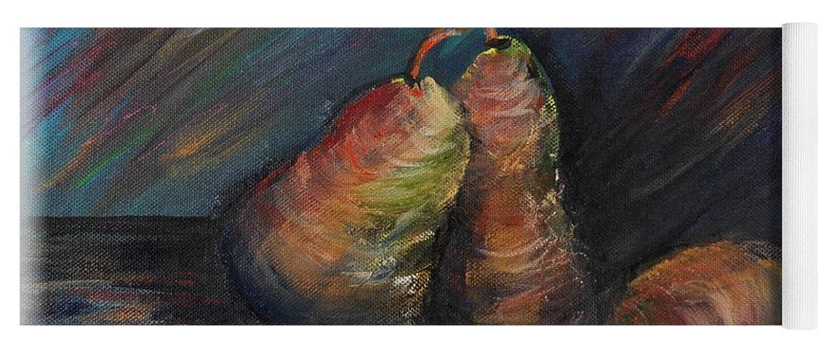 Pears Fruit Stilllife Blue Red Gold Orange Yoga Mat featuring the painting Three Pears by Nadine Rippelmeyer
