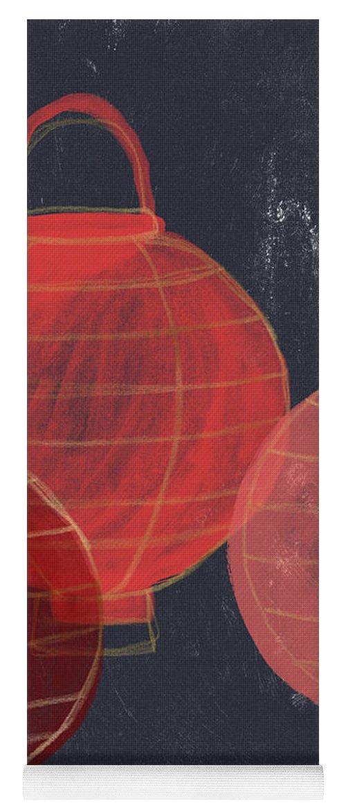 Lanterns Yoga Mat featuring the painting Three Red Lanterns- Art By Linda Woods by Linda Woods