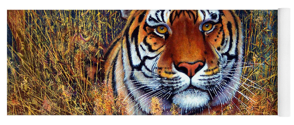 Tiger Yoga Mat featuring the painting Tiger by Frank Wilson