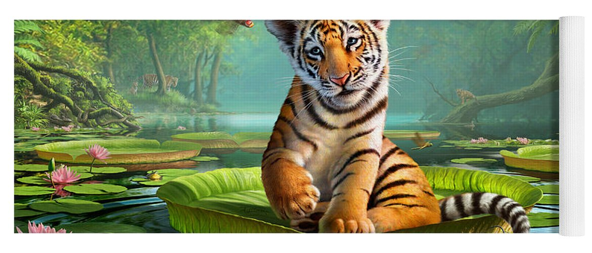 Tiger Yoga Mat featuring the digital art Tiger Lily by Jerry LoFaro