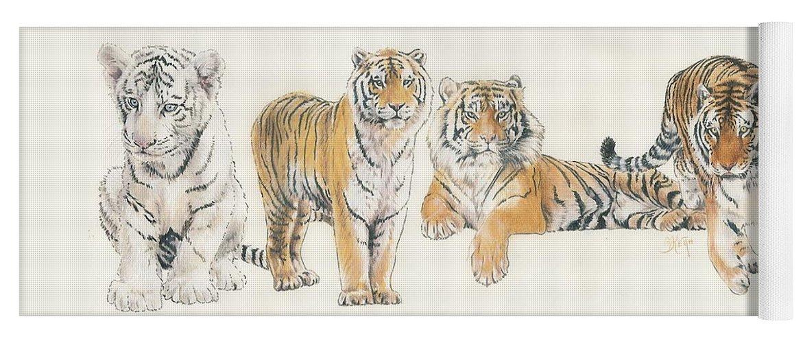 Tiger Yoga Mat featuring the mixed media Tiger Wrap by Barbara Keith