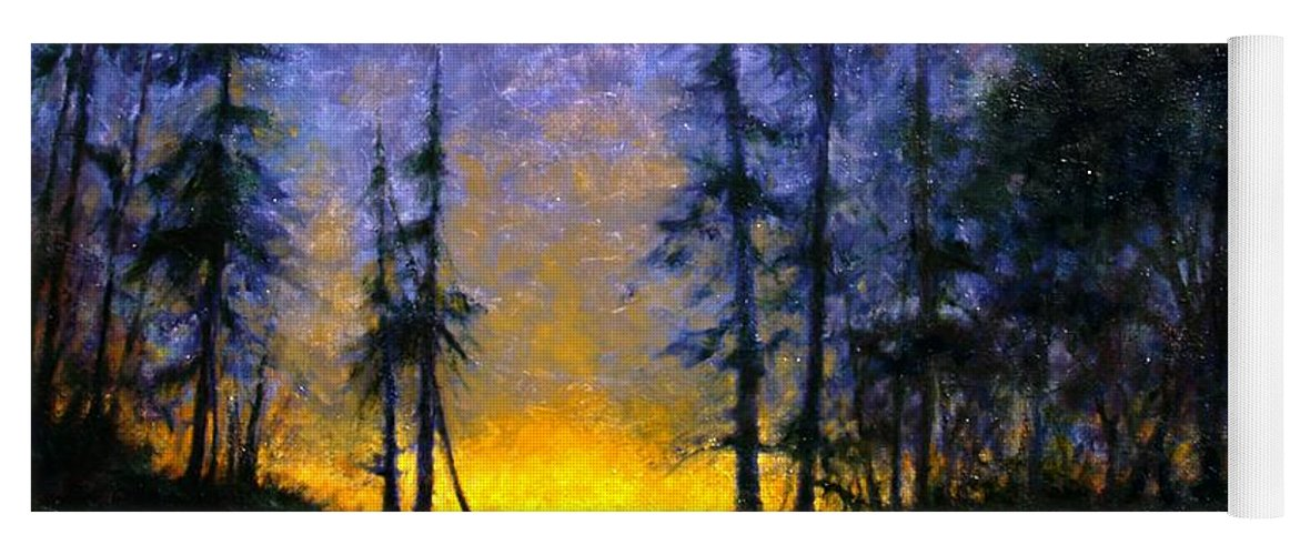 Landscape. Nocturn Yoga Mat featuring the painting Timberline by Jim Gola